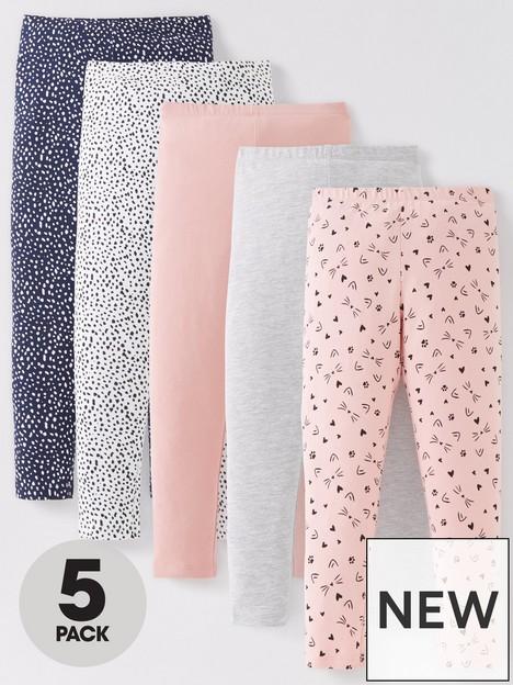 mini-v-by-very-girls-5-pack-cat-print-leggings-multi