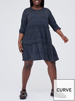 v-by-very-curve-three-quarter-sleeve-tiered-mini-dress-ndash-monochromenbspanimal