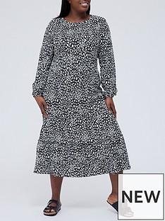 v-by-very-curve-long-sleeve-tiered-midi-dress-monochrome-animal-print