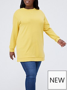 v-by-very-curve-long-line-crew-neck-sweat-mustardnbsp