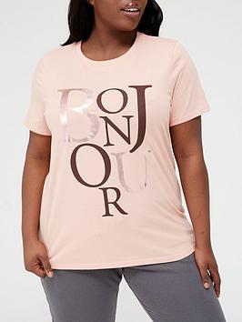 V By Very Curve Foil Front Print Bonjour T-Shirt - Blush