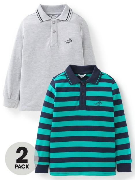 mini-v-by-very-boys-2-pack-long-sleeved-polo-tops-plain-grey-navy-and-green-stripe