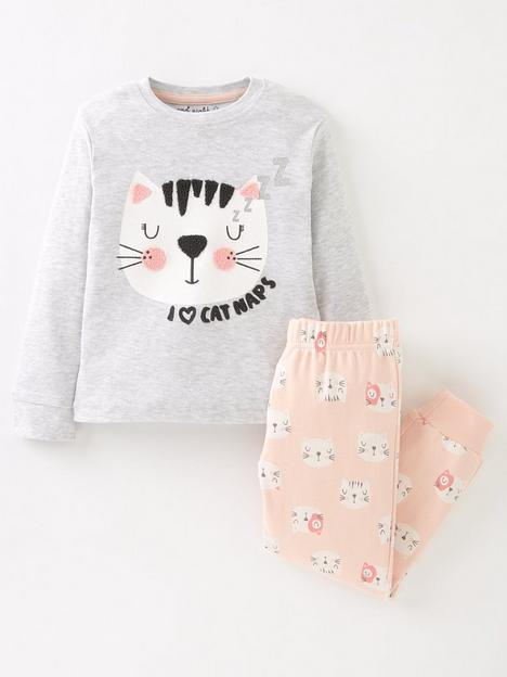 mini-v-by-very-girls-single-cat-long-sleeve-snuggle-fit-pj-set-greypink