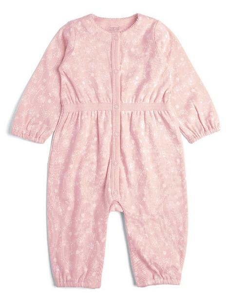 mamas-papas-baby-girls-floral-waisted-romper-pink
