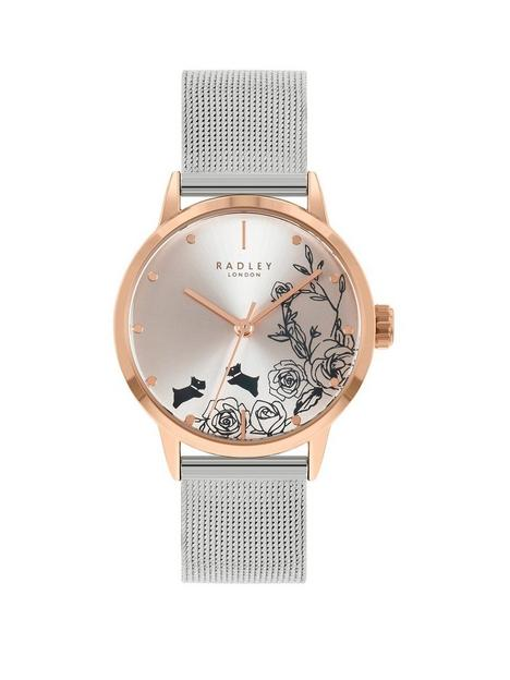 radley-radley-floral-dog-dial-rose-tone-bezel-stainless-steel-mesh-watch