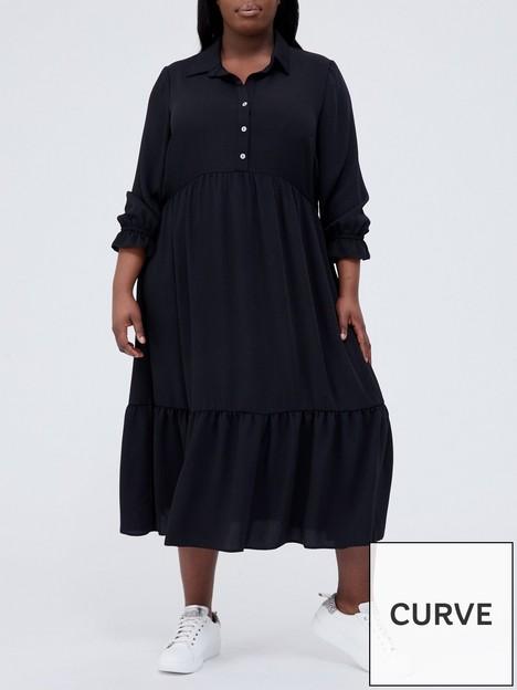 v-by-very-curve-long-sleeve-floaty-midi-dress-black