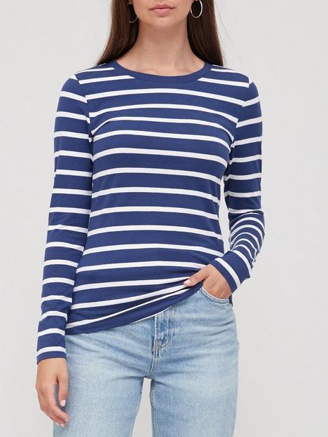 v-by-very-stretch-crew-neck-long-sleeve-top-stripe