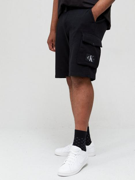 calvin-klein-jeans-plus-monogram-badge-jersey-shorts-black