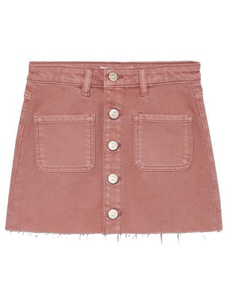 mango-girls-button-skirt-pink