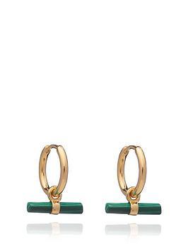 rachel-jackson-london-rachel-jackson-22ct-gold-plated-mini-malachite-t-bar-huggie-hoops