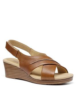 Hotter Bali Wide Fit Wedge Sandals - Tan