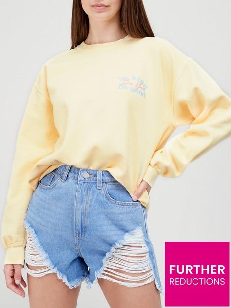 missguided-missguidednbspbe-kind-graphic-oversized-sweatshirt-yellow