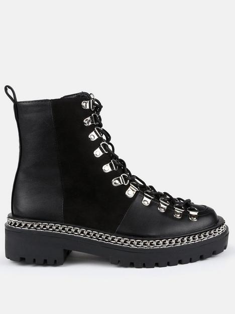 missguided-missguidednbspchunky-chain-lace-up-suede-panel-boot-black