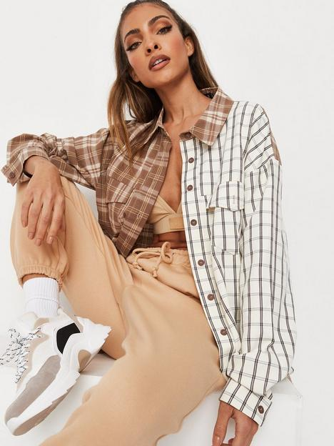 missguided-missguided-extreme-oversized-spliced-check-shirt