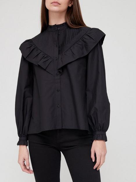 allsaints-fiala-frill-shirt-blacknbsp