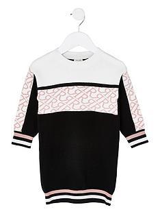 river-island-mini-girls-knitted-monogram-dress--nbspblack