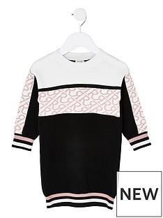 river-island-mini-mini-girls-knitted-monogram-dress-black