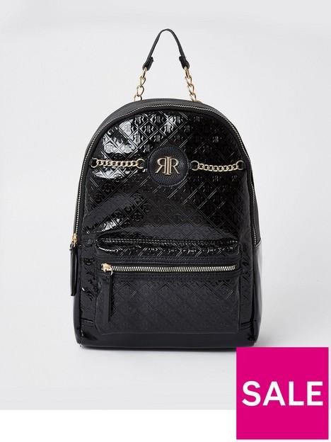 river-island-girls-patent-chain-backpack-black