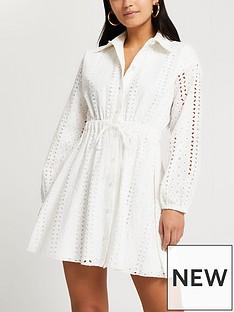 ri-petite-broderie-waisted-shirt-dressnbsp--white