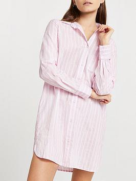 River Island Oversized Bed Stripe Shirt Dress - Pink , Pink, Size Xs, Women