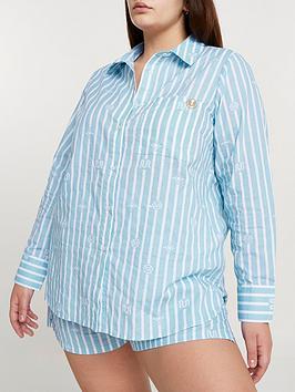 Ri Plus Oversized Stripe Bed Shirt - Blue