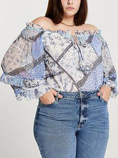 ri-plus-printed-bardot-top-blue