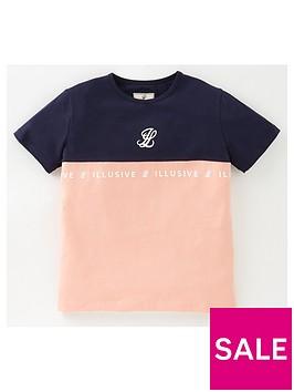 illusive-london-girls-colourblock-short-sleeve-t-shirt-navy