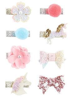 monsoon-girls-8-pack-fun-unicorn-spot-bow-clips-multi