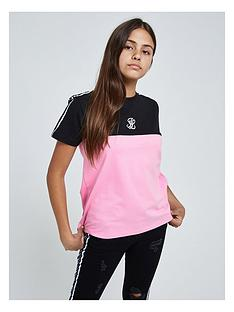 illusive-london-illusive-london-girls-colourblock-tape-short-sleeve-t-shirt