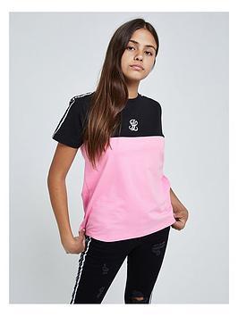 illusive-london-illusive-london-girls-colourblock-tape-short-sleeve-t-shirt
