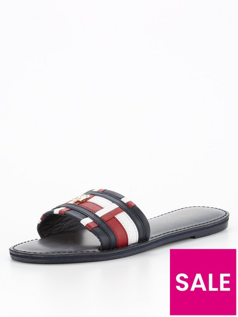 tommy-hilfiger-corporate-flat-leather-mule-navy