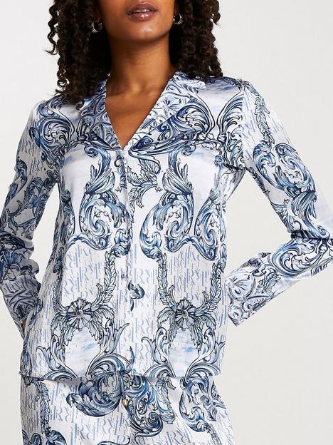 river-island-revere-printed-pyjama-satin-shirt-blue