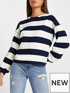river-island-wide-stripe-jumper-black