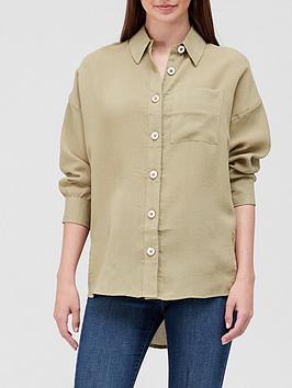 River Island Button Detail Oversized Shirt - Khaki, Khaki, Size Xs, Women