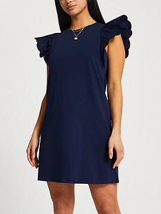 ri-petite-frill-sleeve-mini-dress-navy