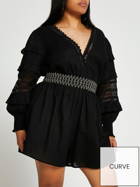 ri-plus-extreme-sleeve-playsuit-black