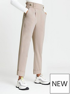 river-island-button-tab-pleated-peg-trouser-light-beige