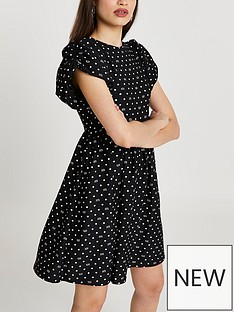 river-island-puff-sleeve-textured-mini-dress-mono-print