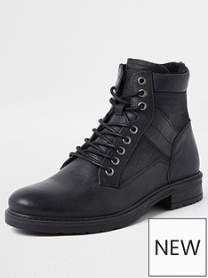 river-island-buckley-distressed-mixed-material-boot