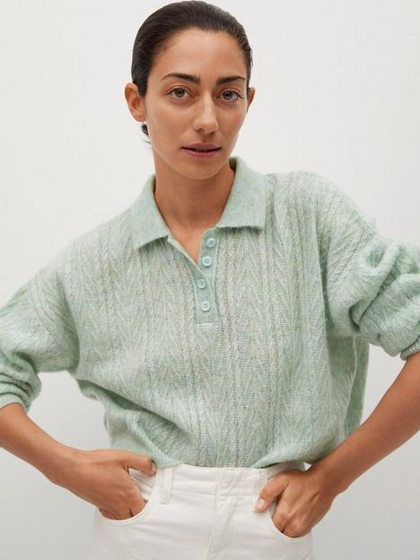 mango-contrasting-knit-polo-light-green
