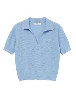 Mango Fine Knit Polo Shirt - Blue, Blue, Size Xs, Women