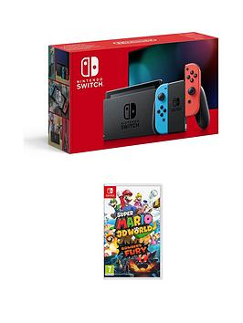 Nintendo Switch Neon Console With Super Mario 3D World + BowserS Fury