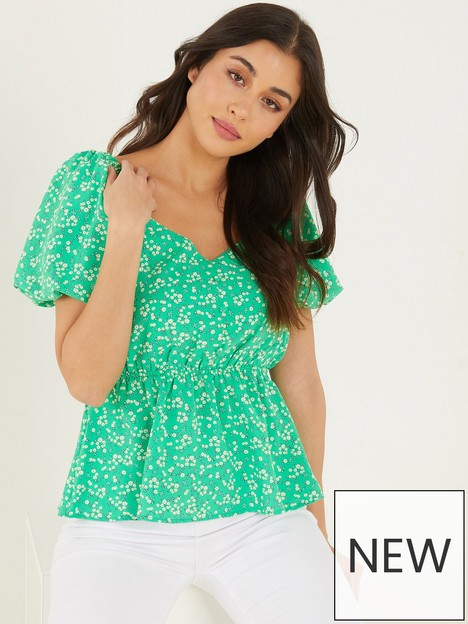 quiz-ditsy-floral-peplum-top-green