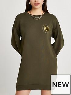 river-island-ri-logo-mini-sweat-dress-khaki