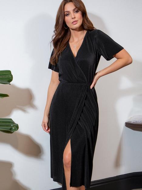 pour-moi-jada-plisse-elasticated-waist-wrap-midi-dress-black