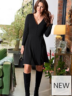 pour-moi-bella-slinky-recycled-jersey-long-sleeve-tea-dress-black
