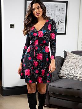 pour-moi-bella-slinky-jersey-long-sleeve-tea-dress-blackrose