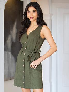 pour-moi-lola-linen-blend-button-through-shift-dress-khaki