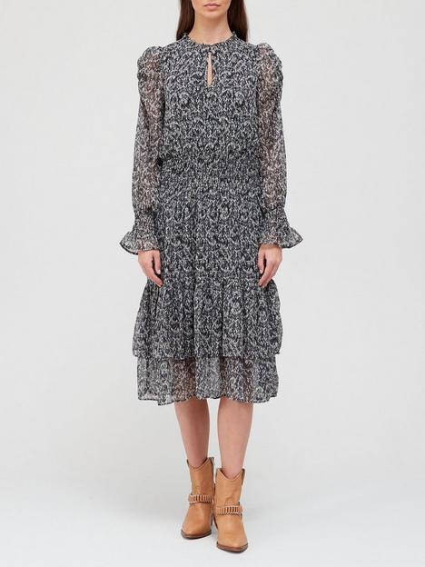 sofie-schnoor-print-drop-waist-dress-black