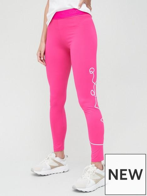 hugo-nicago-script-logo-leggings-pink